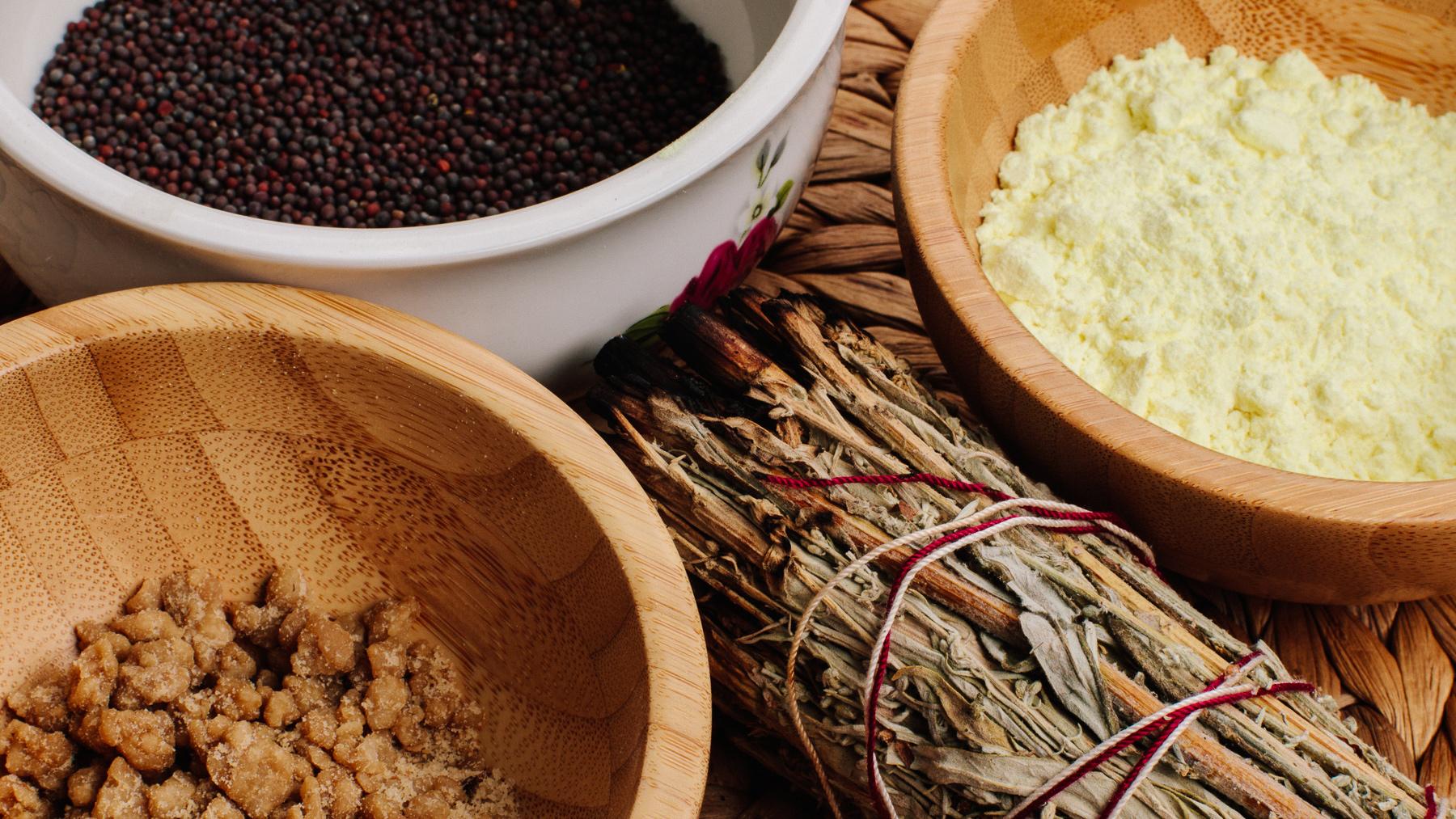 Mustard seeds, asafoetida, sulfur, sage