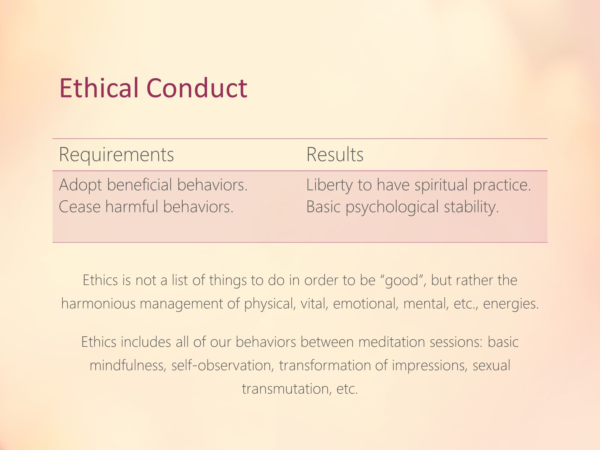 beginning meditation theory practice slide 006 ethical conduct