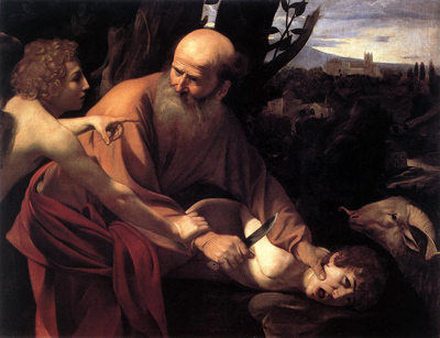 Samael stops Abraham from sacrificing Isaac