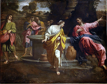 Jesus at the well with the Samaritan woman