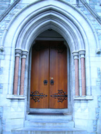 The church doors represent the yoni or female sexual organ