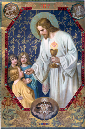 Jesus gives the Eucharist