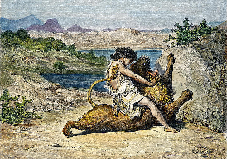 samson slaying a lion
