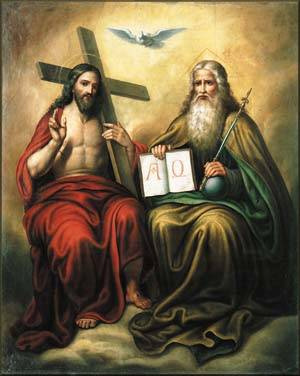 Christ at the right hand of the Father; the Trinity