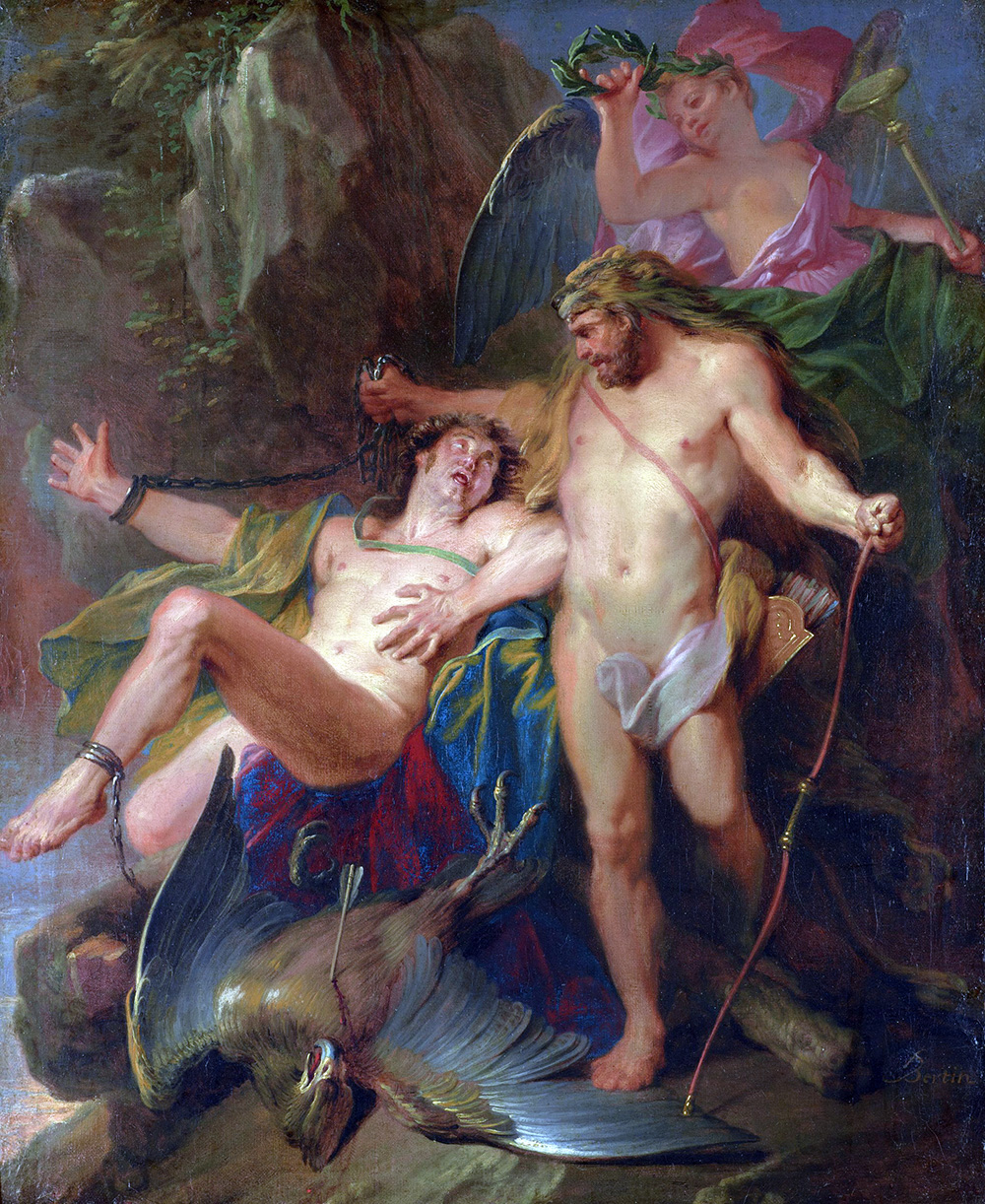 Hercules liberating the chained Prometheus