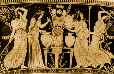 Followers of Dionysus prepare the wine amidst music and dance.