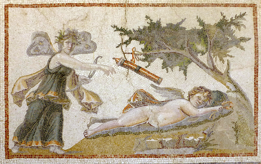 Psyche and Eros from a Roman mosaic