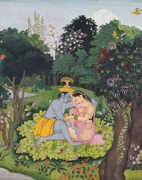 sexual magic: krishna and radha in a forest