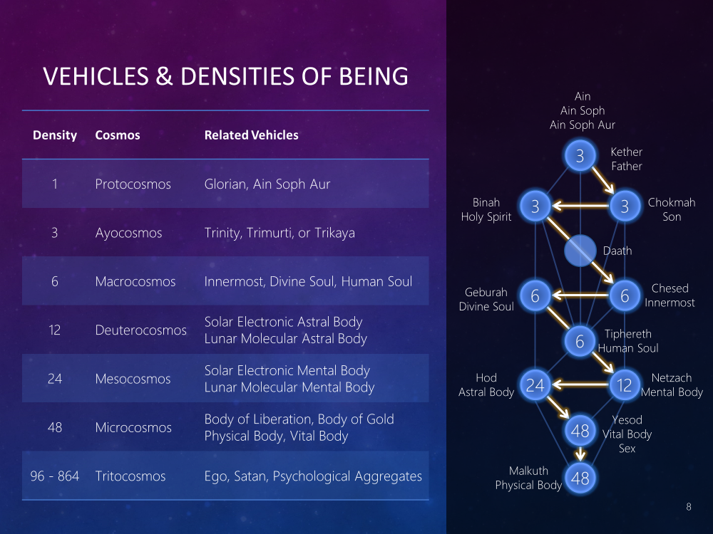 Vehicles and Densities of the Being