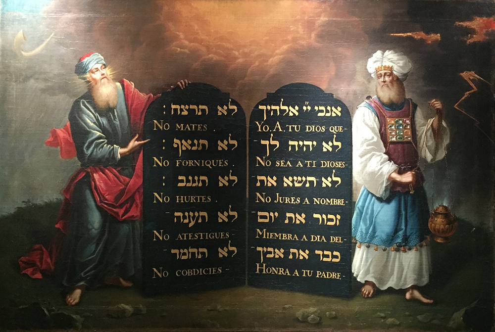 Moses and Aaron with the ten Commandments 1674