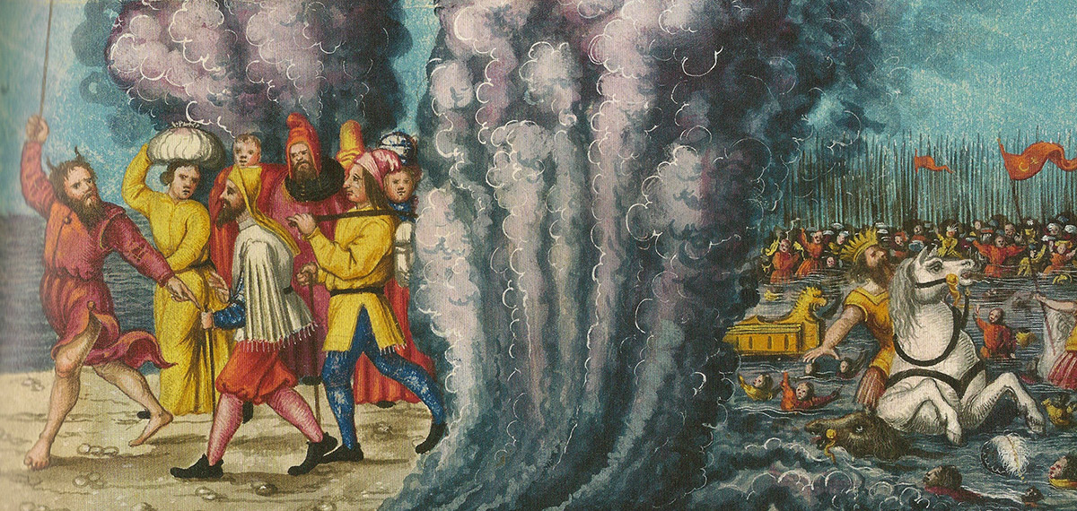 Moses (with horns) leads the Exodus